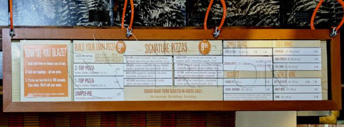 Blaze Pizza Menu Board